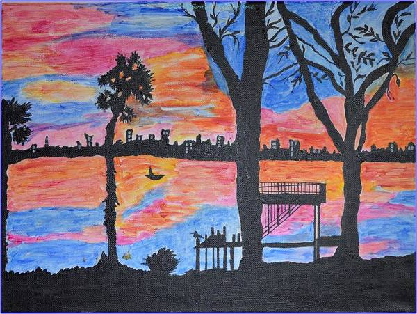 Acrylic Painting Print featuring the painting Beach Silhouette by Sonali Gangane