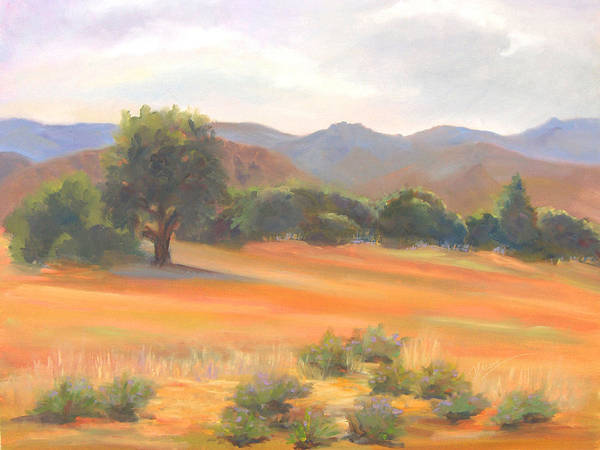 Landscape Print featuring the painting Fort Collins Foothills by Marcy Silverstein