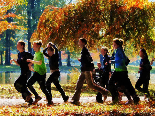 Jogging Print featuring the photograph Girls Jogging On An Autumn Day by Susan Savad