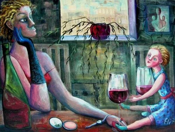 Woman Print featuring the painting Girls Party by Elisheva Nesis