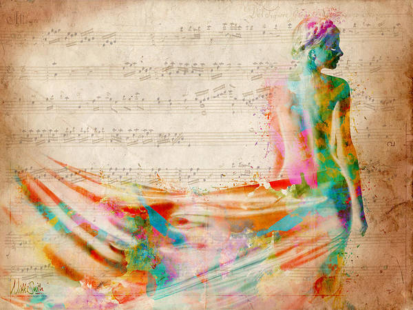 Mozart Print featuring the digital art Goddess Of Music by Nikki Smith