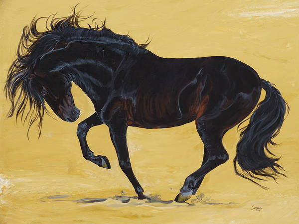Horse Original Painting Print featuring the painting Irresistible by Janina Suuronen