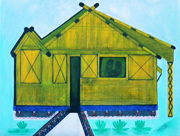 Landscape Print featuring the painting Kiddie House by Lorna Maza