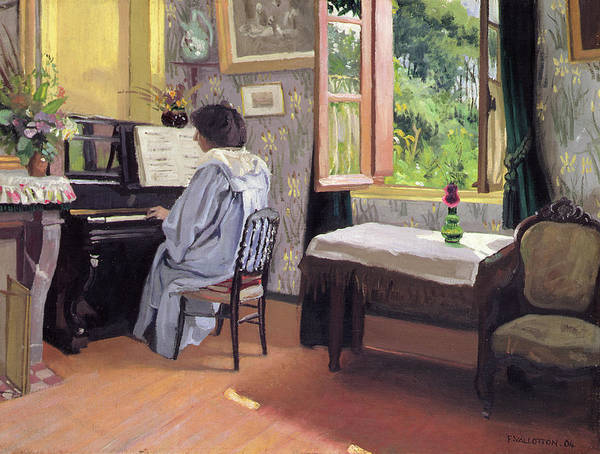 Interior Print featuring the painting Lady At The Piano by Felix Edouard Vallotton