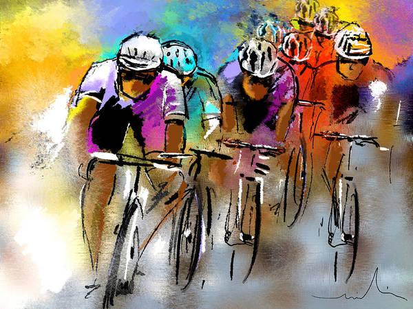 Sports Print featuring the painting Le Tour De France 03 by Miki De Goodaboom