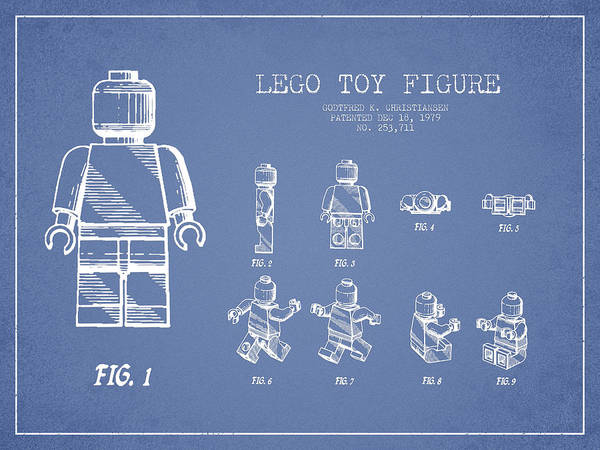 Lego Print featuring the drawing Lego Toy Figure Patent Drawing From 1979 - Light Blue by Aged Pixel