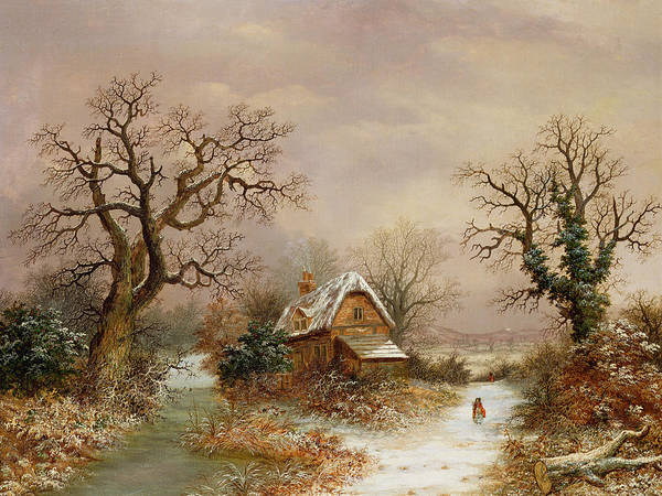 Story Print featuring the painting Little Red Riding Hood In The Snow by Charles Leaver