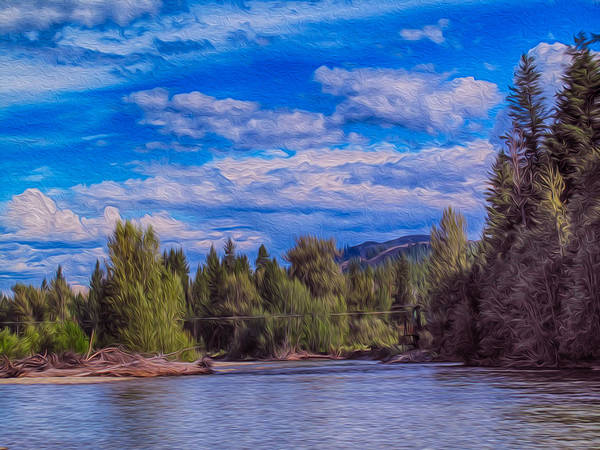 North Cascades Print featuring the painting Methow River Crossing by Omaste Witkowski