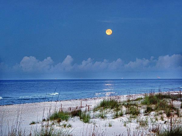 Alabama Photographer Print featuring the digital art Moon Over Beach by Michael Thomas