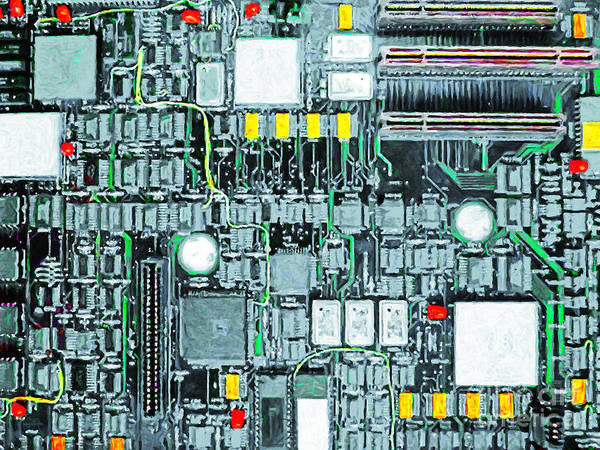 Circuit Board Print featuring the photograph Motherboard Abstract 20130716 by Wingsdomain Art and Photography