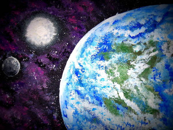 Outer Space Print featuring the painting Out Of This World by Daniel Nadeau