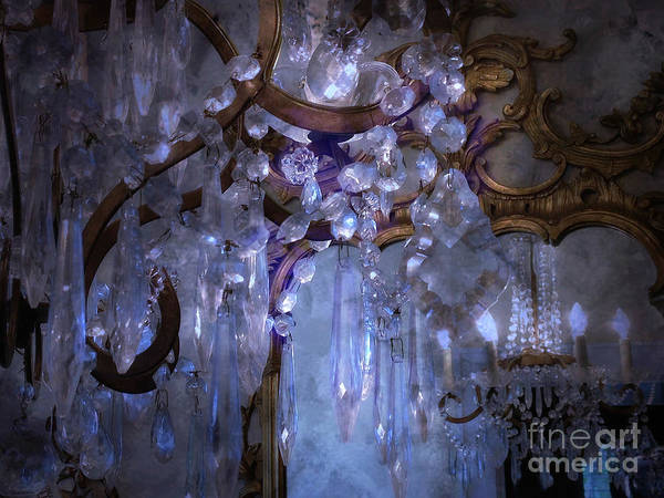 Paris Chandeliers Print featuring the photograph Paris Surreal Haunting Crystal Chandelier Mirrored Reflection - Dreamy Blue Crystal Chandelier by Kathy Fornal