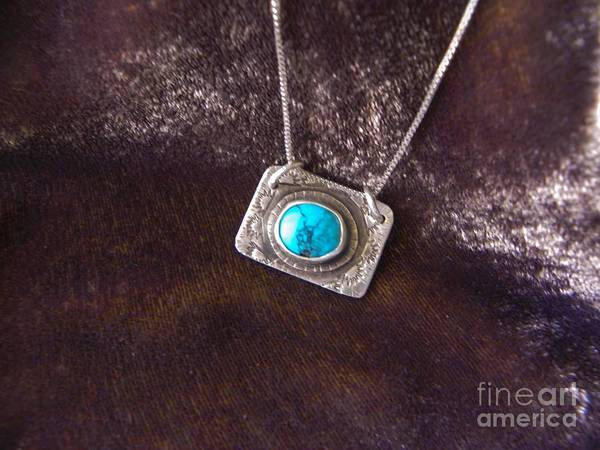 Turquoise Print featuring the jewelry Pendant With Turquoise by Patricia Tierney