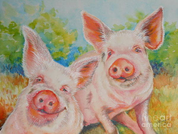 Pig Print featuring the painting Pigs Pink And Happy by Summer Celeste