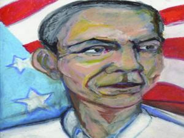 Obama 2012 Print featuring the digital art President Barack Obama by Derrick Hayes