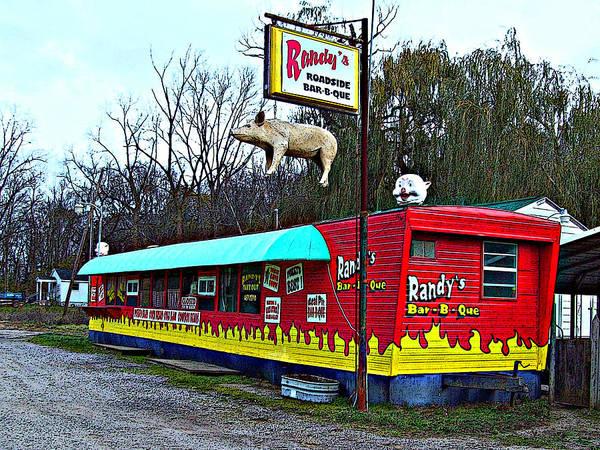 Mj Olsen Print featuring the photograph Randy's Roadside Bar-b-que by MJ Olsen
