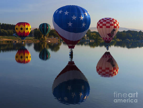 Balloons Print featuring the photograph Resting On The Water by Mike Dawson