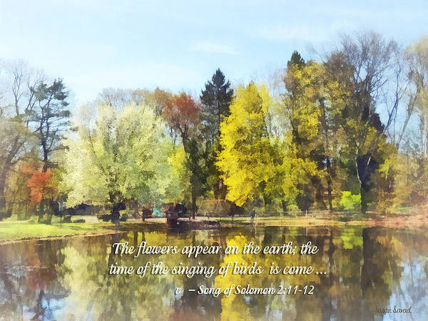 Religious Print featuring the photograph Song Of Solomon 2 11-12 - The Flowers Appear by Susan Savad