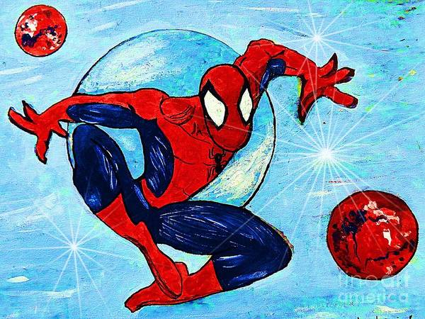 Spiderman Print featuring the painting Spiderman Out Of The Blue 2 by Saundra Myles