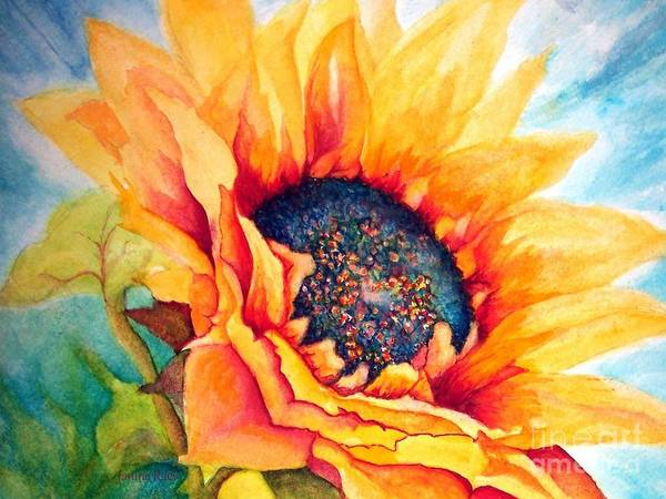 Sunflower Print featuring the painting Sunflower Joy by Janine Riley