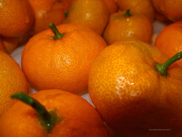 Tangerines Print featuring the photograph Tangerines 01 by Brian Gilna