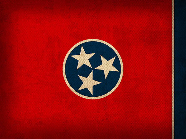 Tennessee Print featuring the mixed media Tennessee State Flag Art On Worn Canvas by Design Turnpike