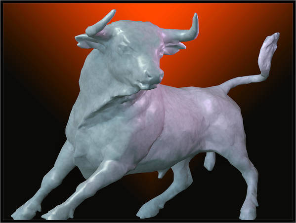 Portrait Print featuring the digital art The Bull... by Tim Fillingim