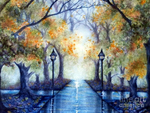 Park Print featuring the painting The Future Looks Bright by Janine Riley
