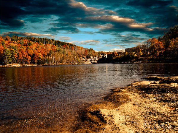 Clouds Print featuring the photograph The Pool Below Upper Falls Rumford Maine by Bob Orsillo
