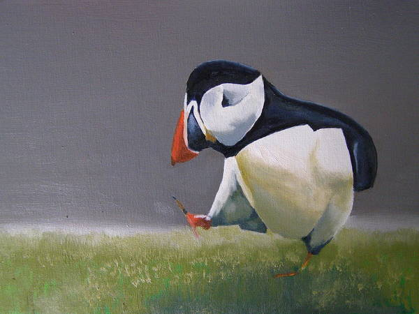 Puffin Print featuring the painting The Walking Puffin by Eric Burgess-Ray