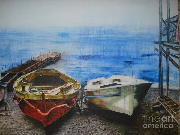 Landscape Print featuring the painting Tranquility Till Tide From The Farewell Songs by Prasenjit Dhar