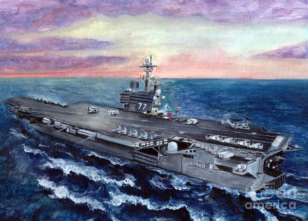 George Bush Print featuring the painting Uss George H.w. Bush by Sarah Howland-Ludwig