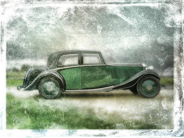 Vintage Print featuring the digital art Vintage Rolls Royce by David Ridley