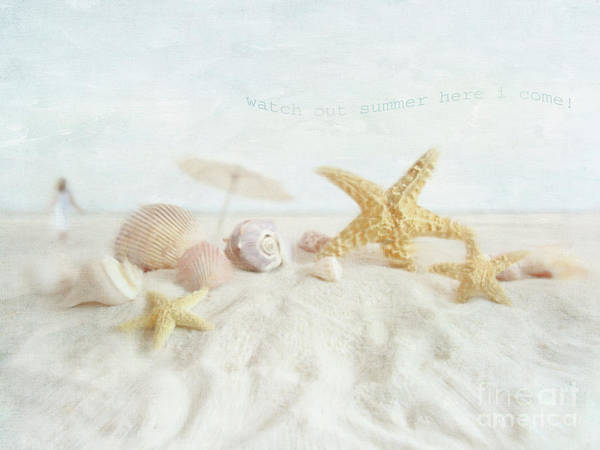 Aquatic; Background; Beach; Blue; Climate; Coast; Coastline; Cockleshell; Conch; Copy; Day; Idyllic; Marine; Nature; Woman; Object; Ocean; Outdoors; Sand; Sea; Seascape; Seashell; Seashore; Shell; Sky; Space; Summer; Sunlight; Sunny; Sunshine; Tourism; Tranquil; Travel; Tropical; Vacations; Water; Unbrella; Print featuring the photograph Starfish And Seashells At The Beach by Sandra Cunningham