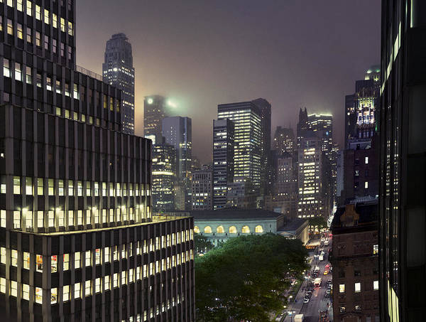 Horizontal Print featuring the photograph Bryant Park At Night From Roof Looking East by Jon Shireman