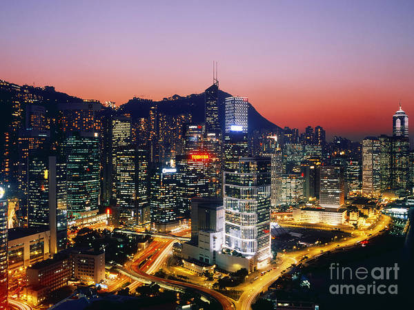 Architectural Detail Print featuring the photograph Downtown Hong Kong At Dusk by Jeremy Woodhouse