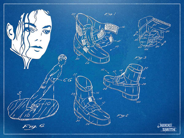 Michael Jackson Print featuring the digital art Michael Jackson Anti-gravity Shoe Patent Artwork by Nikki Marie Smith