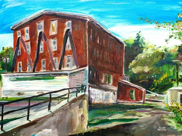 Mill Print featuring the painting Millbury Mill by Scott Nelson