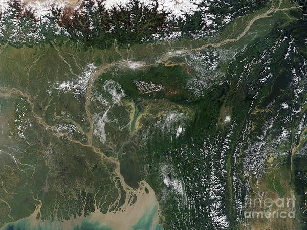 20 October 2004 Print featuring the photograph Monsoon Floods by NASA / Science Source
