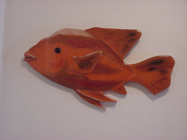 Fish Print featuring the mixed media Orange Fish by Val Oconnor