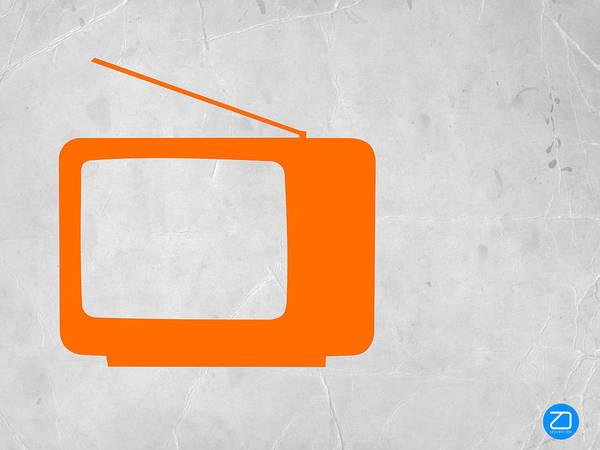 Print featuring the mixed media Orange Tv Vintage by Naxart Studio