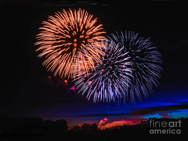 Fireworks Print featuring the photograph Red White And Blue by Robert Bales