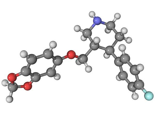 Molecular Print featuring the photograph Seroxat Antidepressant Drug Molecule by Laguna Design