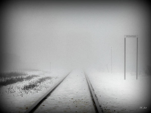 Tracks Print featuring the photograph Spooky Train Tracks by Ms Judi