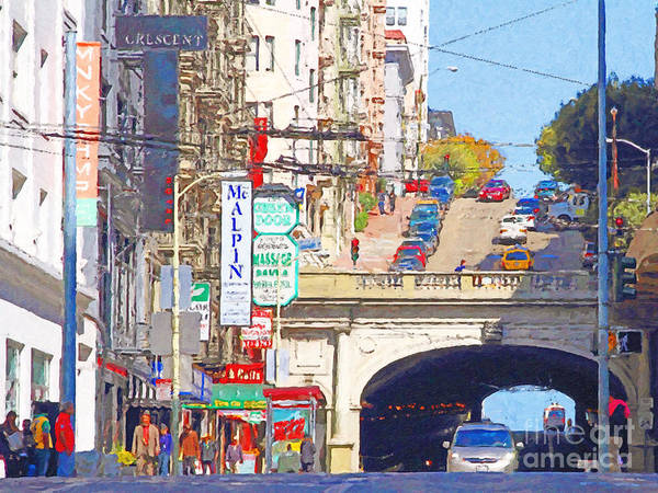 San Francisco Print featuring the photograph Stockton Street Tunnel In San Francisco . 7d7355 by Wingsdomain Art and Photography
