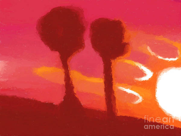 Sunset Print featuring the painting Sunset Abstract Trees by Pixel Chimp