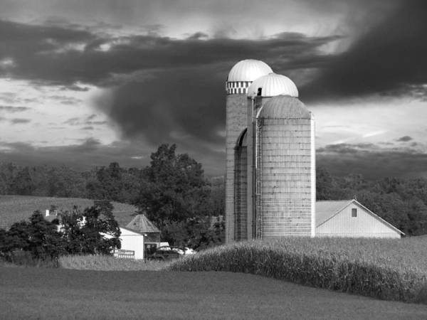 Farm Print featuring the photograph Sunset On The Farm Bw by David Dehner