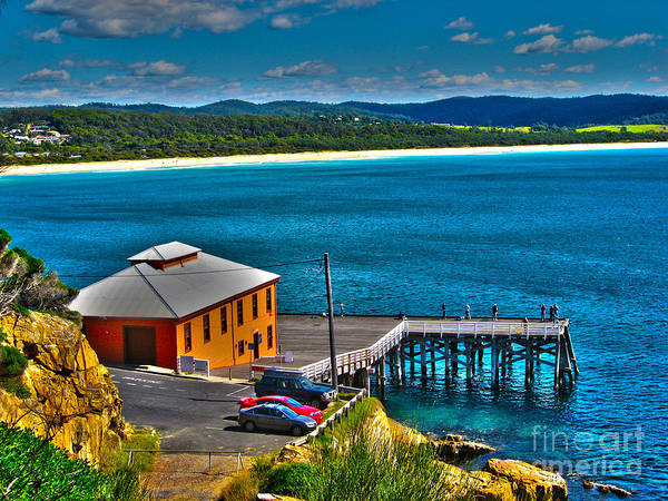 Wharf Paintings Print featuring the photograph Tathra Wharf by Joanne Kocwin