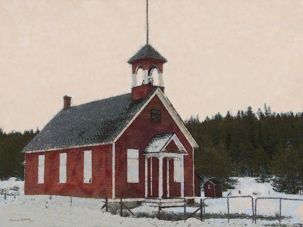 The School House Painterly Print featuring the digital art The School House Painterly by Ernie Echols