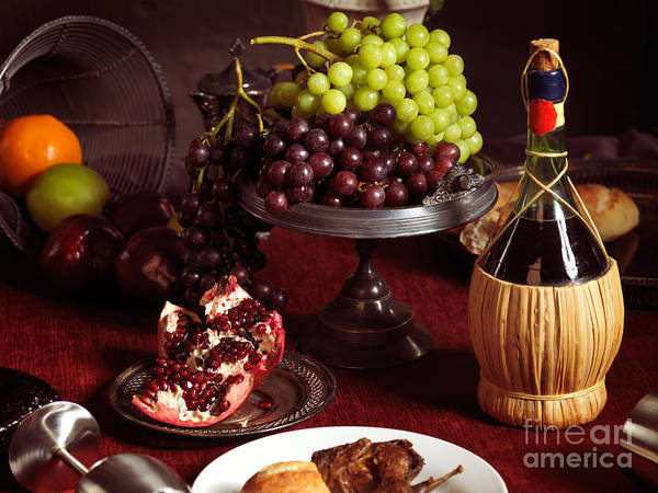 Feast Print featuring the photograph Festive Dinner Still Life by Oleksiy Maksymenko